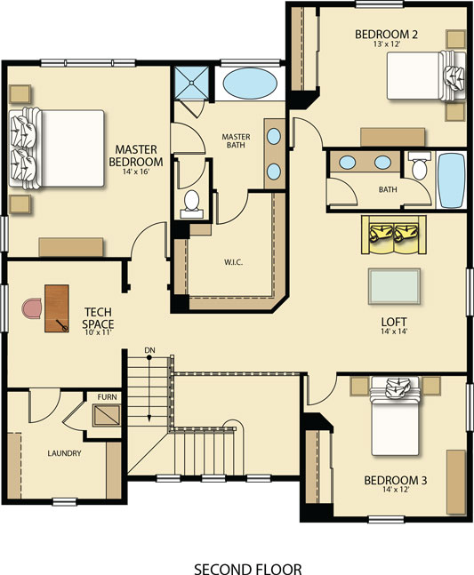 Lennar Bainbridge Upper floorplan