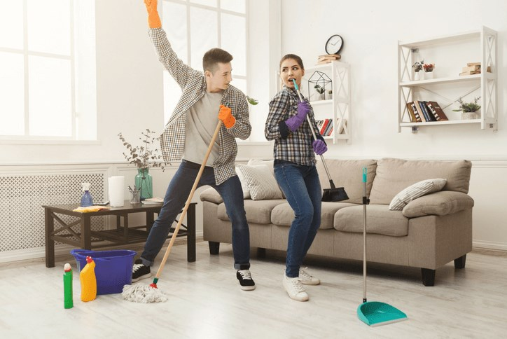 Spring cleaning young couple