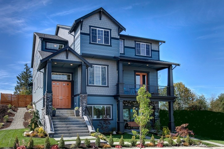 Azure's beautiful three-story model home can be found at Big Sky Park in Tehaleh.