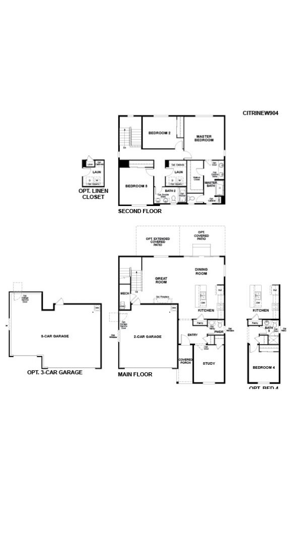 Richmond American Homes, Citrine Model Floor Plans for All Elevations