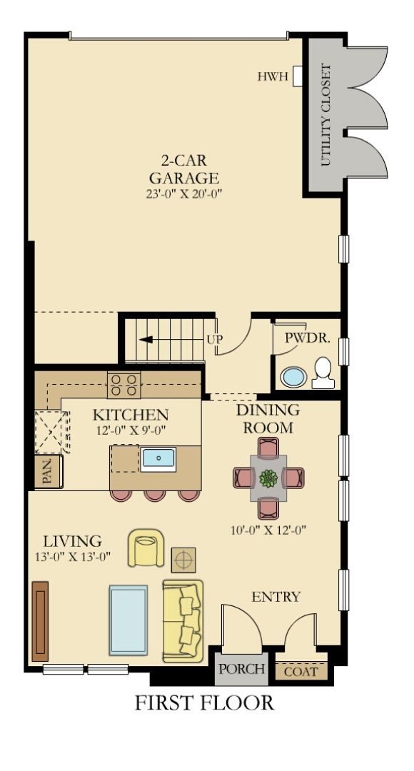 Lennar Townhmes, Endeavor Floor Plan, Main Floor