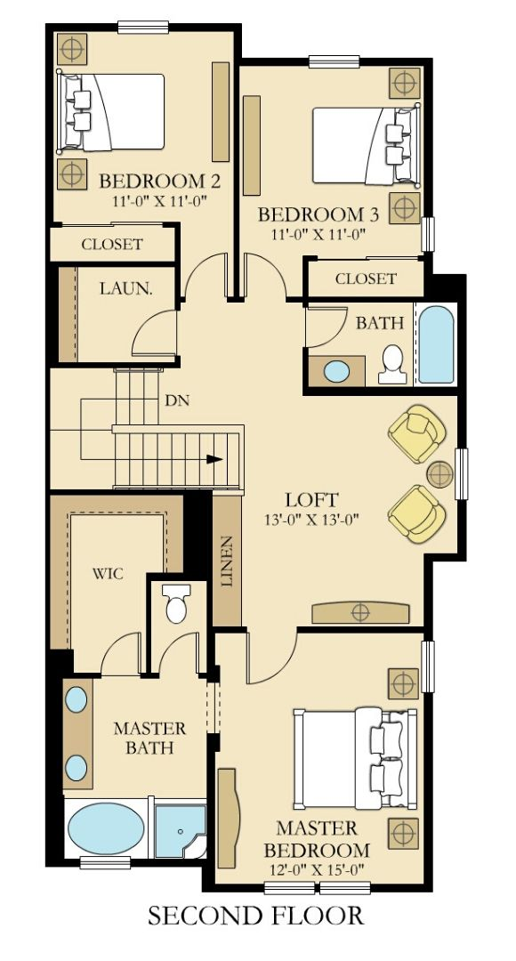 Lennar Towhomes, Endeavor Floor Plan Upper Floor