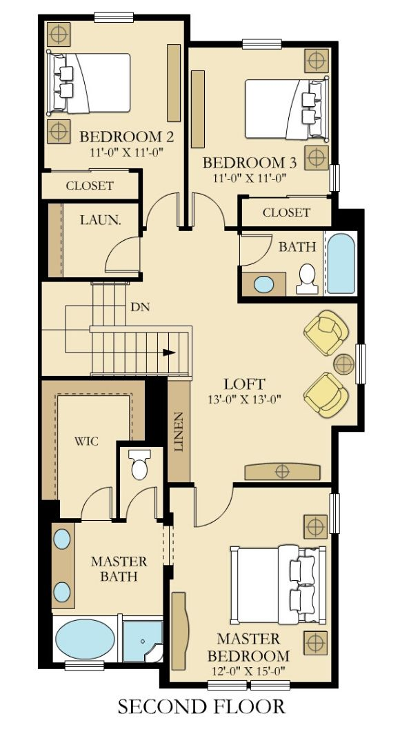 Lennar Townhomes, Discovery D1 1730 Floor Plan,  Upper Floor