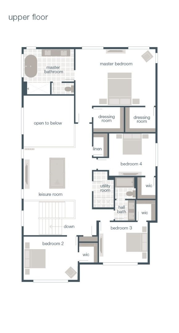 MainVue Homes, Amato Floor Plan, Upper Floor