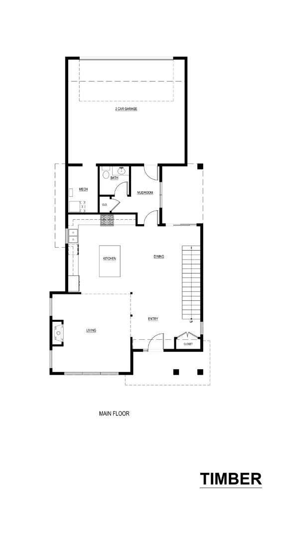 Noffke Homes, Main Floor Plan for the Timber Model
