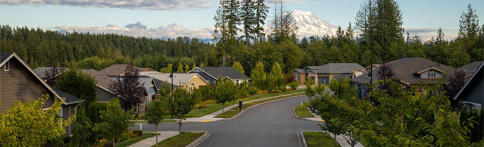 View of Mount Rainier from Tehaleh Neighborhood with road going through community past homes.