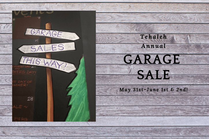 Tehaleh annual garage sale flyer with signposts.