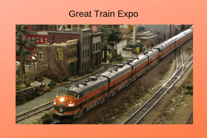 Model train running on tracks. Flyer for great train expo in Tehaleh.